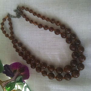 Amber and Brown  Vintage Beaded Choker